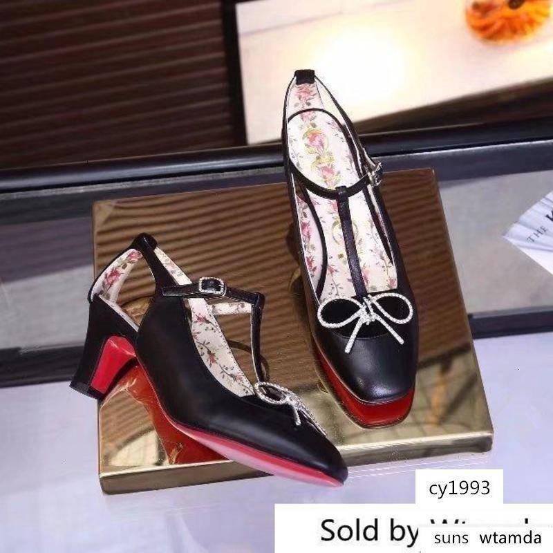 Piel de vaca sandalias de tacón Chunky 6325 mujeres bota de montar botas de lluvia botines zapatillas de tacones altos Bombas Lolita zapatos de vestir
