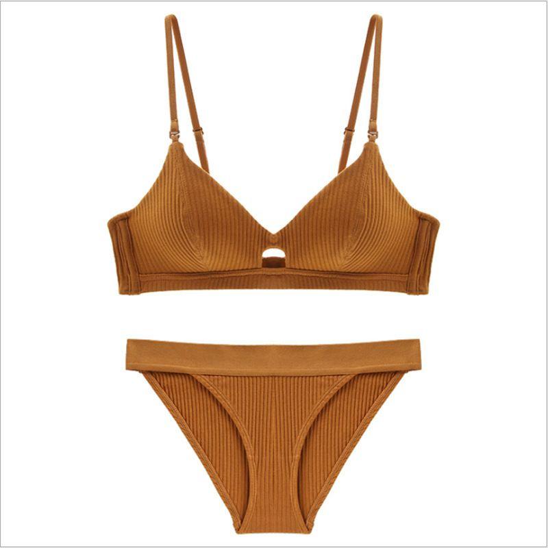 2020 Sexy Unterwäsche Cotton Set Schraubengewinde Thin Wireless-BH mit abnehmbaren Trägern Gepolsterte Mädchen BH Thong Set Dessous Damen