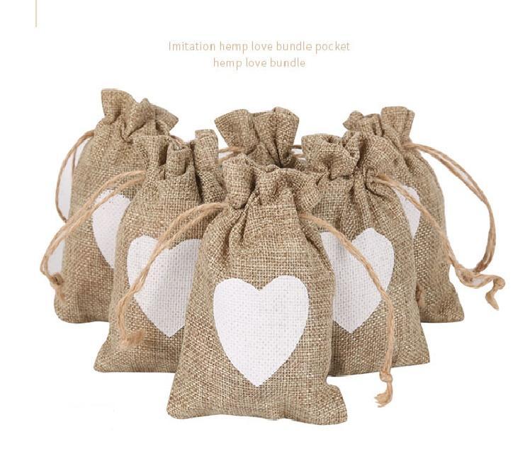 Amour paquet de chanvre poche sacs-cadeaux Halloween cadeau de Noël sacs à double cordon de serrage