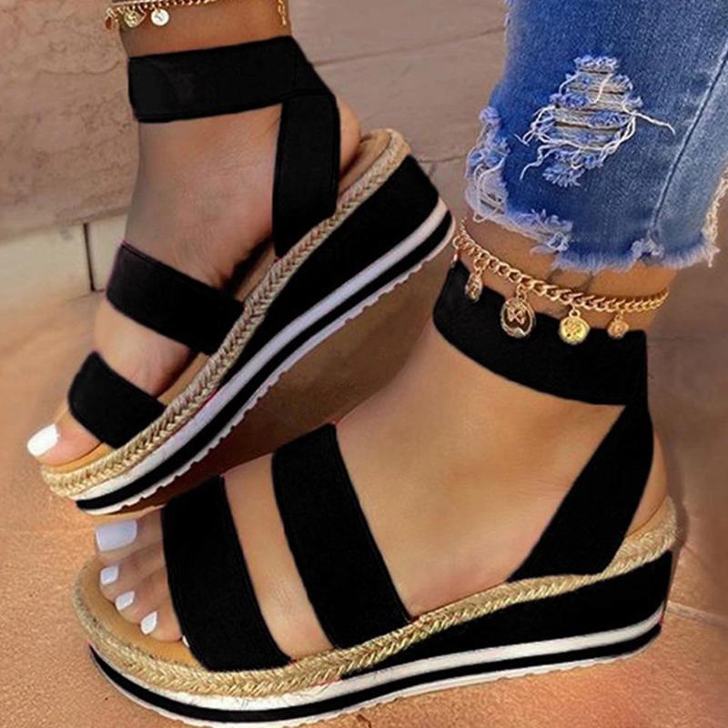 Yeni Kadın Sandalet takozları Platformu Bayanlar Yaz Sandalias Mujer Drop Shipping için Çapraz Kayış Günlük Ayakkabılar