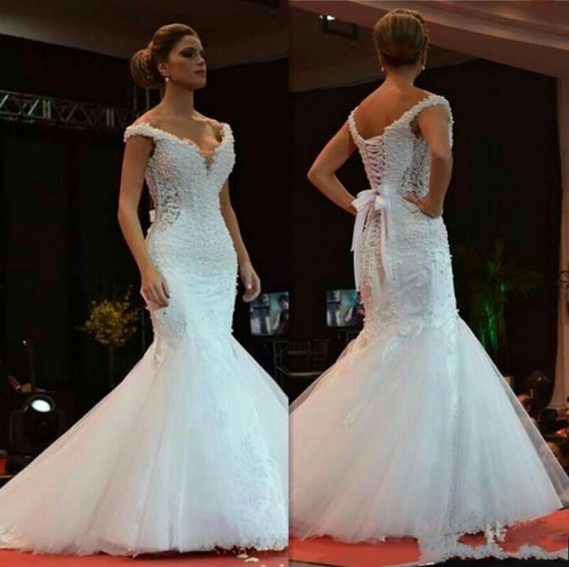 Elegant Mermaid Wedding Dresses 2020 Beaded Pearls With Off-shoulder Lace-Up Back Bridal Gowns For Bride vestidos de novia