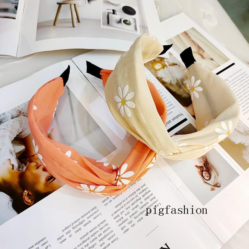 Blumen-Kunst-Chrysantheme Haarspange breite Rand Kreuz Kink Hauptband-bunten Frauen-Haar-Band Wash Gesichts-Kopf-Band