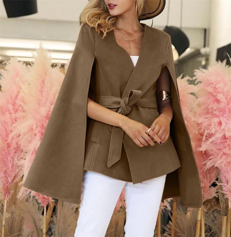 El temperamento de moda apropiada delgada capa rompevientos abrigo de lana Escudo Cardigan Cinturón tapa de la manera del resorte del mantón de las mujeres