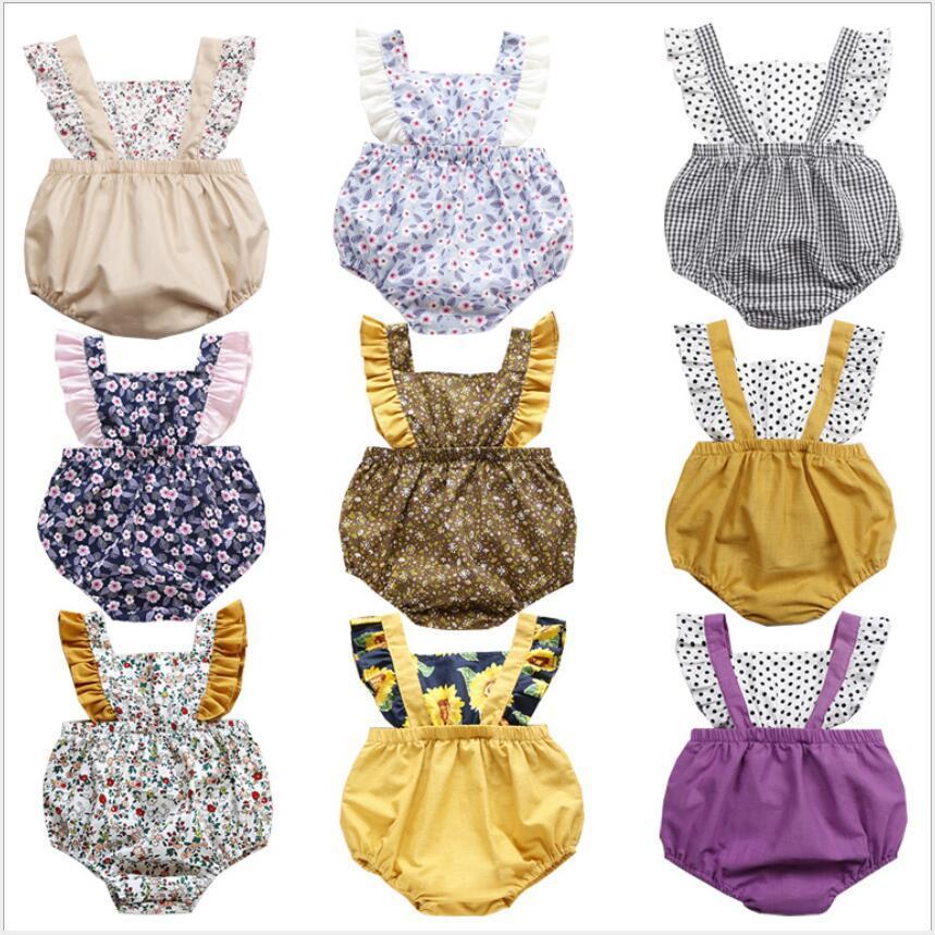 Estate ragazza del neonato vestiti Fly manica Girasole Stampa pagliaccetto tuta un pezzo fototecnica prendisole vestiti di estate 34 colori