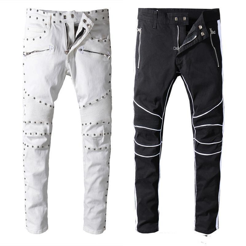 2019New Geliş Erkek Tasarımcı Marka Siyah Beyaz Kot Skinny Delikler uLAE # ile Stretch Slim Fit Hop Hop Pantolon Destroyed yırtık