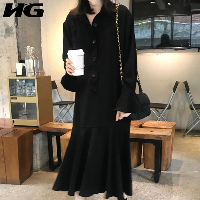 HG irregular del remiendo del vestido de las mujeres 2020 otoño Moda Casual nuevo estilo temperamento gira el collar abajo de la manga del vestido lleno de ZP2202