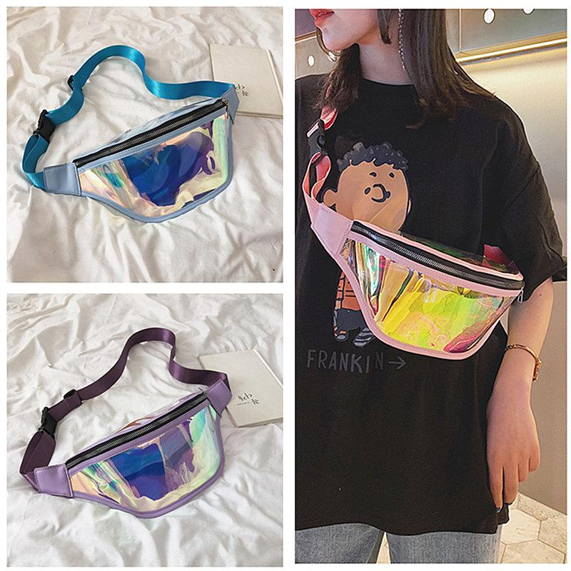 Modedesigner Fanny Pack Damen Laser Iridescence Umhängetasche Brusttaschen Schultertasche Zipper Gürtel Taschen Reisen Sport Messager Bag 2020