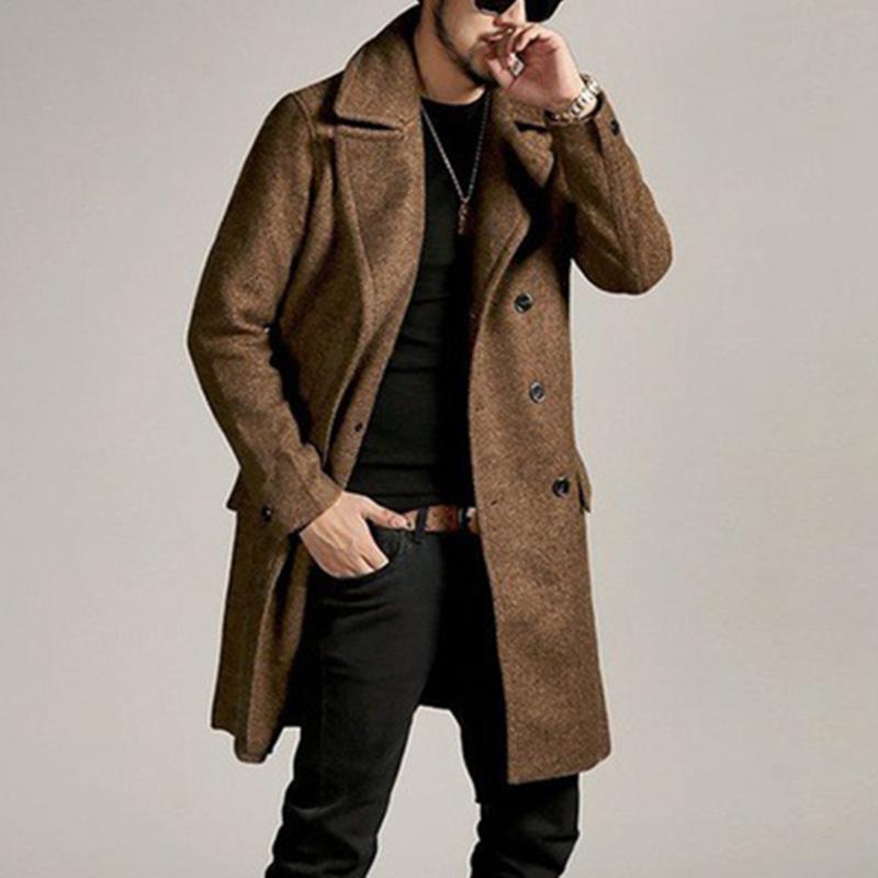 2020 새로운 남성 울 블렌드 코트 가을 겨울 따뜻한 단색 높은 품질 남성 롱 자켓 및 코트 고급스러운 브랜드 의류