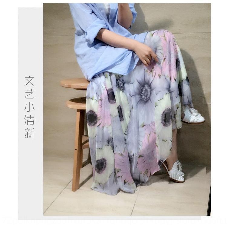 mousseline de soie imprimé style artistique bat son long long large des femmes Xia Sen jupe haute taille floral jupe femmes