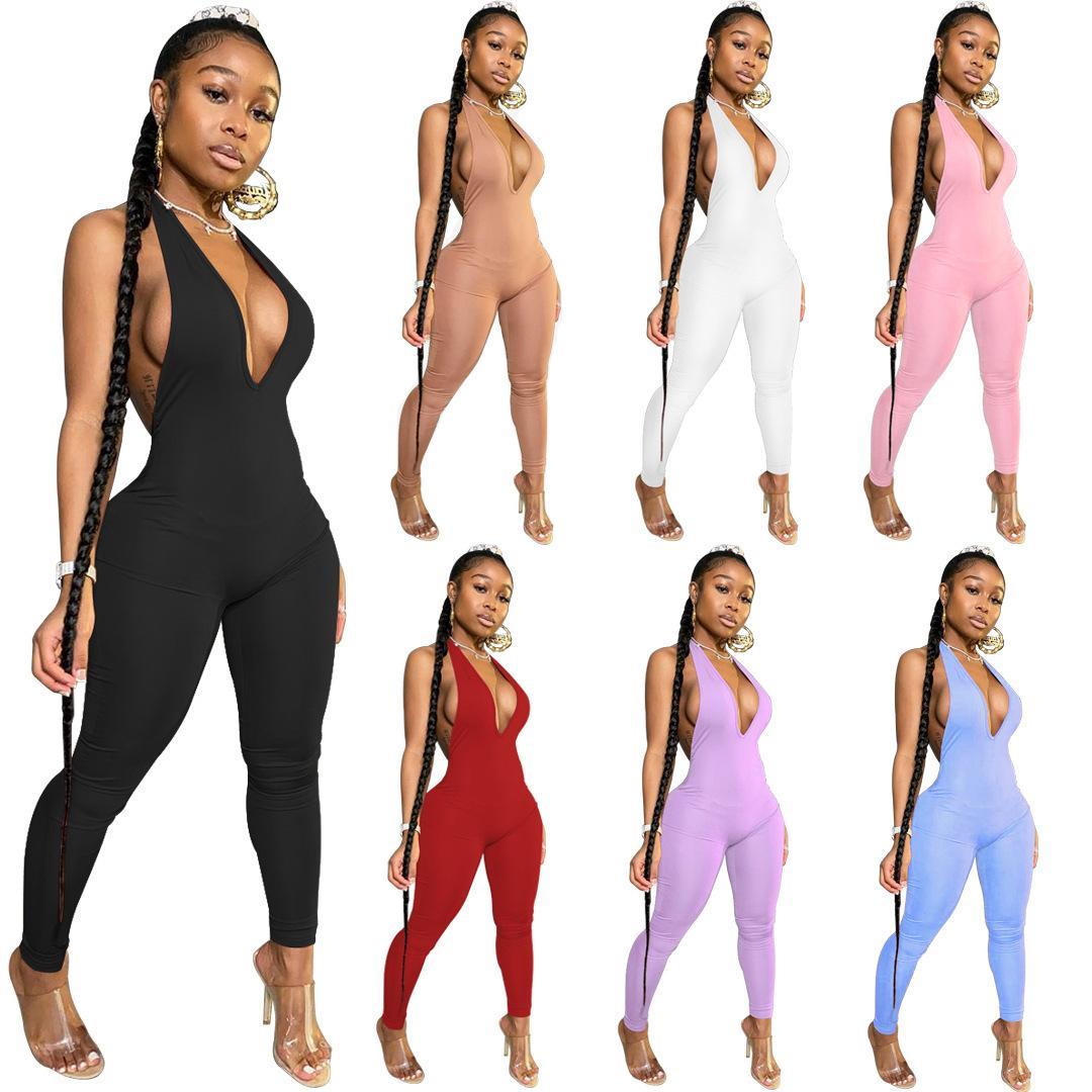 Womens Backless profunda V Neck Bodycon Macacões Feminino macacãozinho Sexy Clube Macacões Sporty roupas uma peça