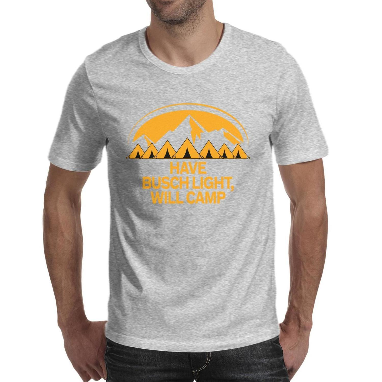 Moda Erkek Busch Light Bira Kampı Siyah Yuvarlak Boyun T Gömlek Rahat Şampiyon Gömlek O kadar Çok