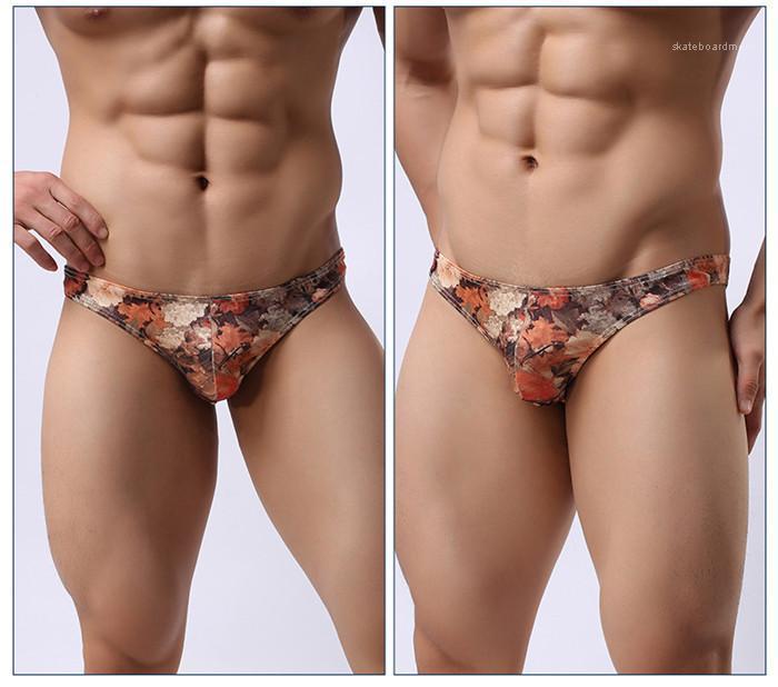 Человек Мода дышащий с низкой талией Цветок Underwears Men Casual конструктора Трусы мужские винтажные Sexy Тонкий Трусы
