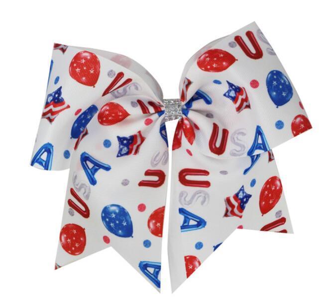 Cheer Bow Stars and Stripes çip elastik bant kız Saç Aksesuarları yay TEMMUZ 7inch Amerikan Bayrağı JOJO SWIA saça OF 12pcs / lot 4TH