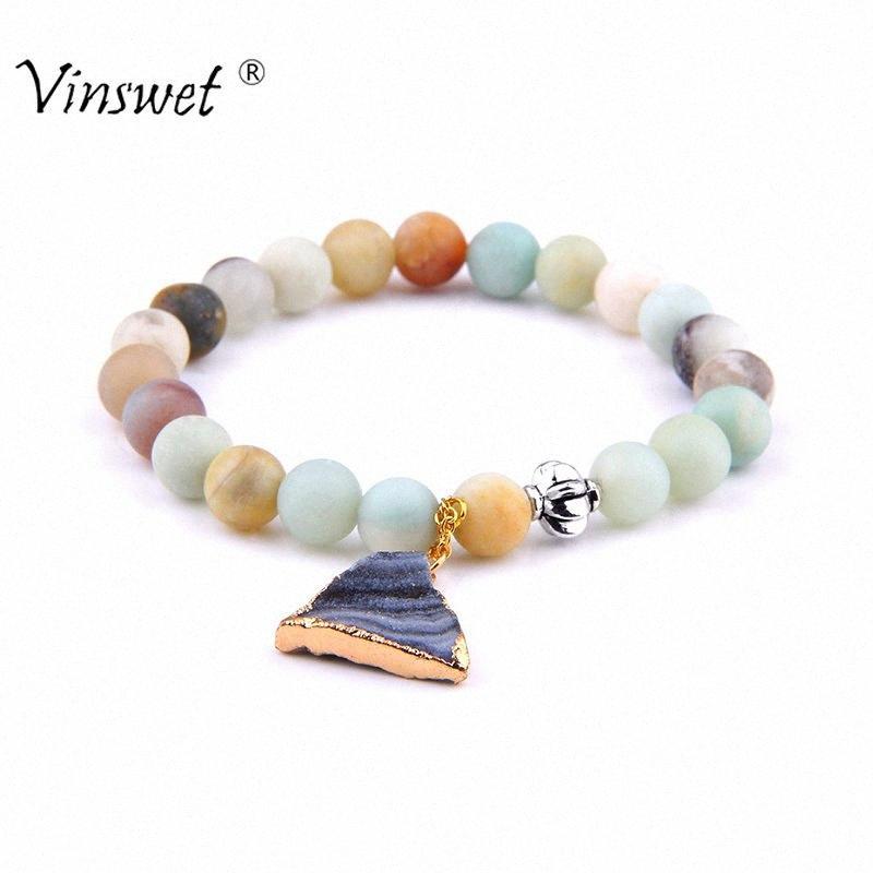Mode Naturstein Amazonite rundes Korn-Armband festen Kristall Druzy Charm Armband Armbänder für Frauen Männer Schmuck nU1p #
