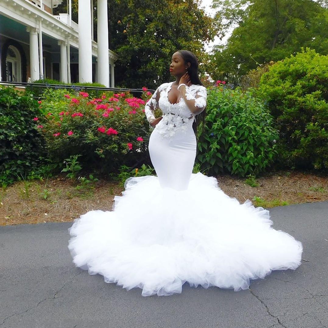 Branco Sereia 2020 Vestidos Pescoço V manga comprida Lace Appliqued hierárquico Saias lindo Prom Girls Dress Preto Pageant Vestidos