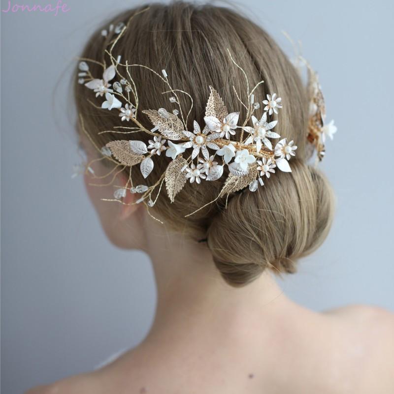 Jonnafe boda Corona clip de la joyería floral de la hoja de oro nupcial del pelo hecho a mano de las mujeres de la vendimia Prom Celada Accesorios MX200720