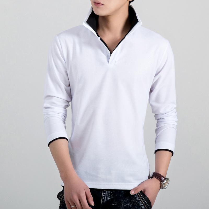 Color doble solapa de cuello Polos manga larga para hombre sólido adelgazan la camisa de polo Adolescente masculino ropa de otoño