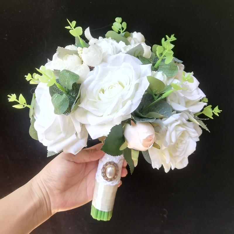 Gelin Buketi Beyaz Gül Rustik Ipek Çiçek Düğün Koleksiyonu Seti Gelin Aksesuarları Mariage