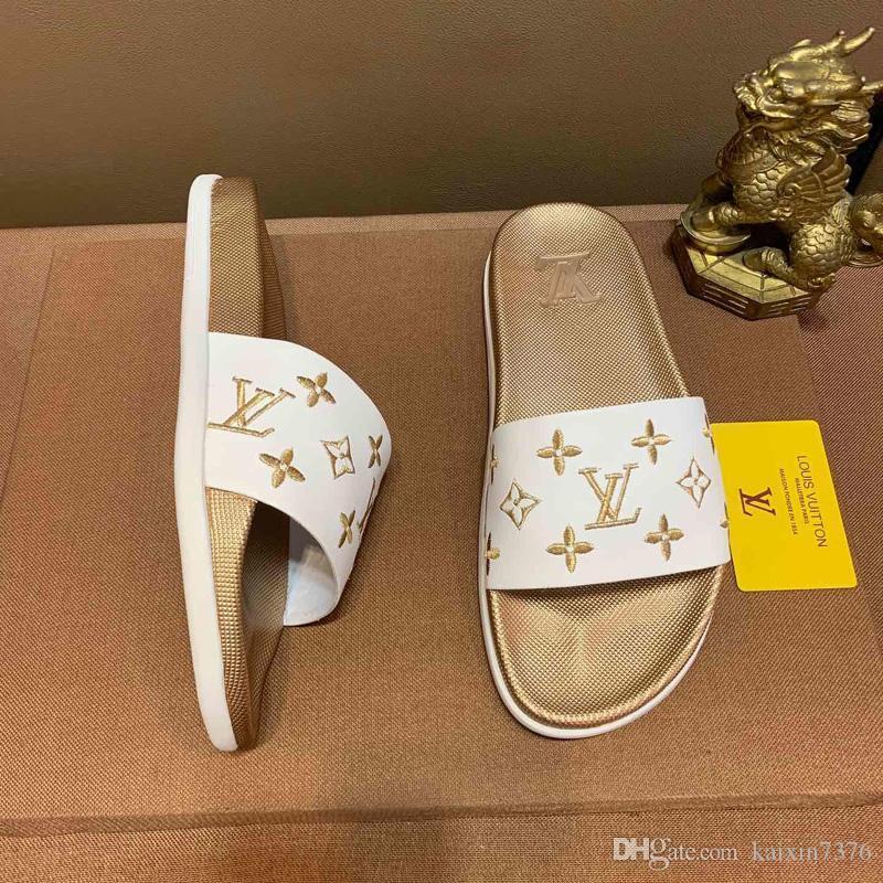 GUCCI Dior Chanel Givenchy UGG Christian Louboutin 2019 para hombre de la moda de París verano de las mujeres sandalias de playa de diapositivas Zapatillas Damas fracasos de tirón
