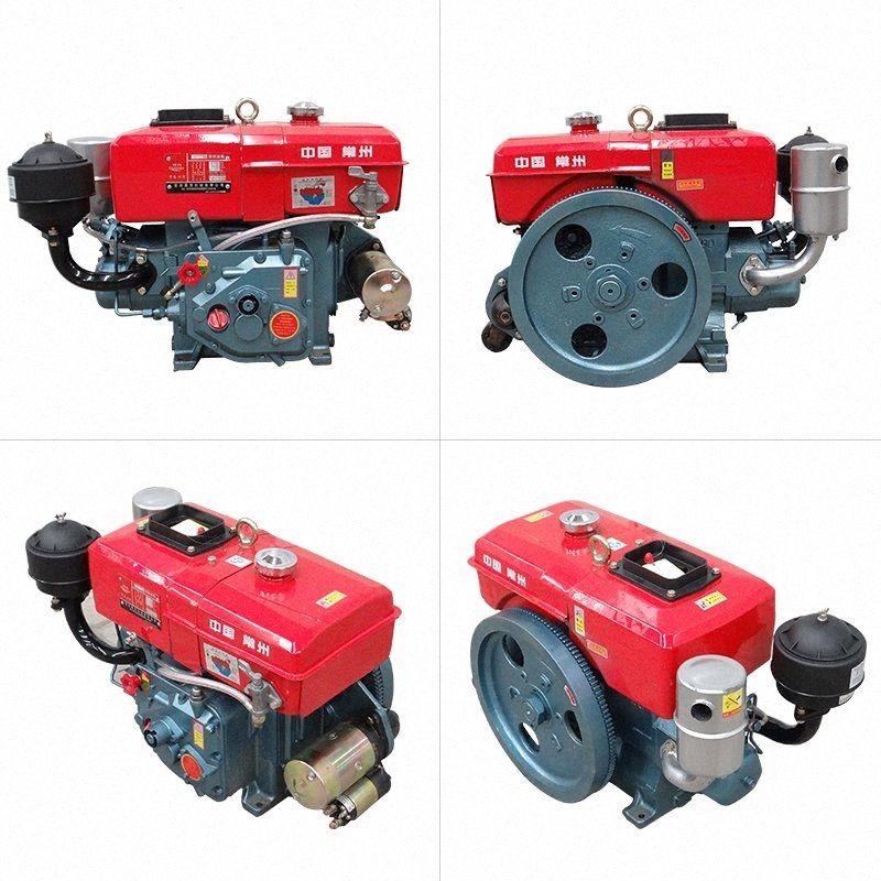 pequeño motor diesel refrigerado por agua de inicio solo cilindro 6/8 caballos de fuerza de la mano / el motor del tractor arranque eléctrico KFIn #