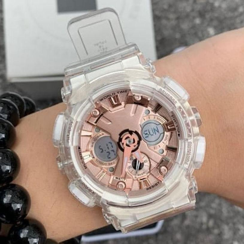 Transparent Pink Girls Shock Watches Limited Japan Summer Fashion Watches With Box Hot Selling Wholesale G Style Sport Man Sport Watch 120