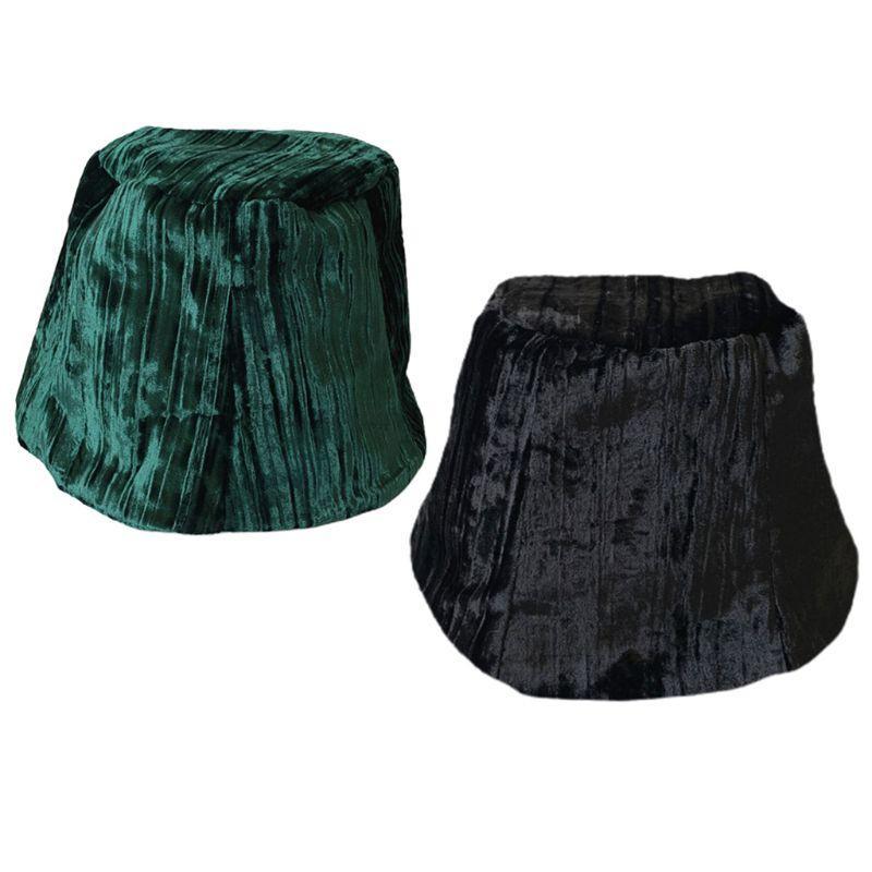Otoño Las mujeres de terciopelo de la vendimia de la bóveda del sombrero del cubo brillante de color sólido a rayas en forma de campana hembra sombrero de ala ancha Cap Pescador poco voluminoso