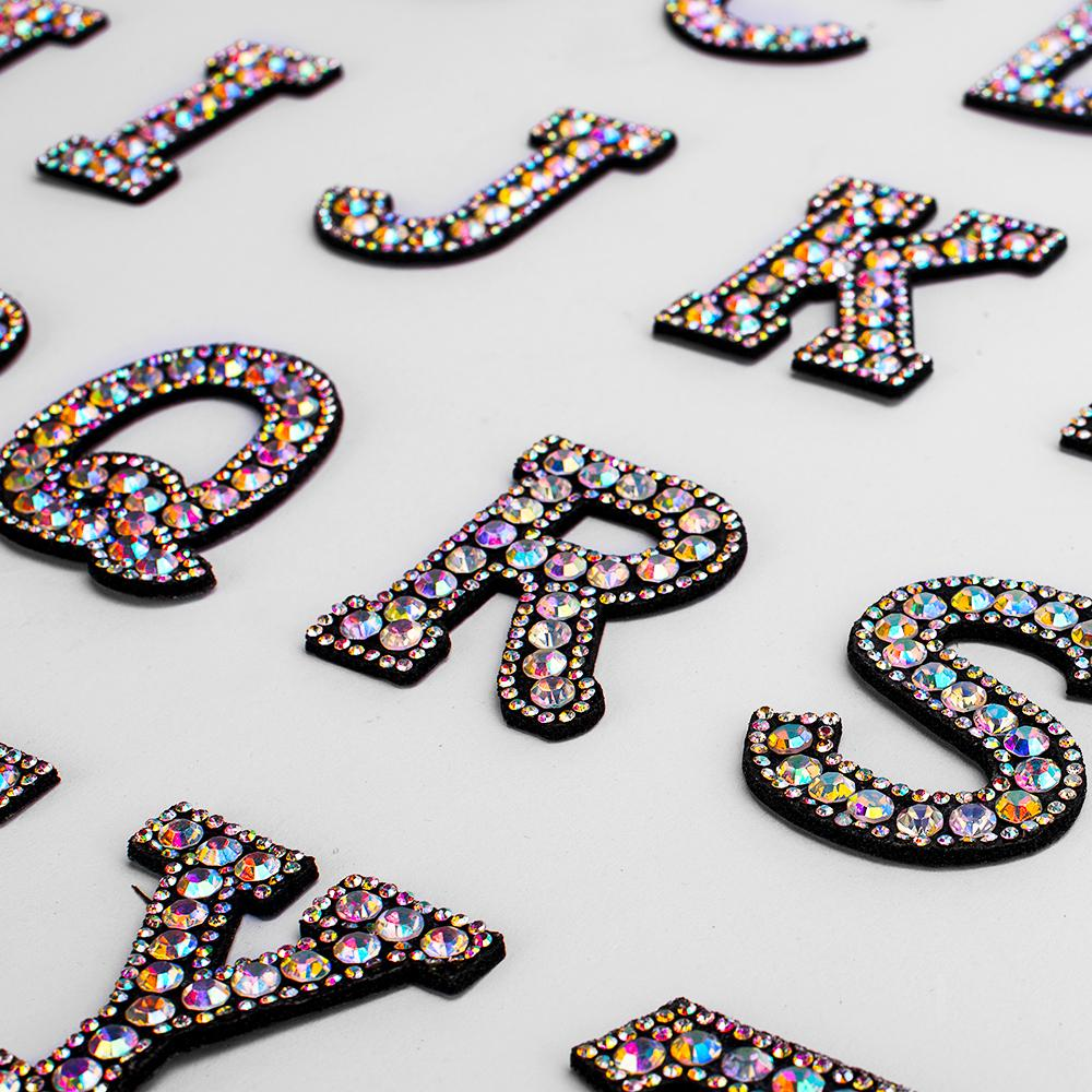 A-G 1pcs Rhinestone English Alphabet Letter Applique 3D Iron On letters Patch For Clothing Badge Paste For Clothes Bag Shoes