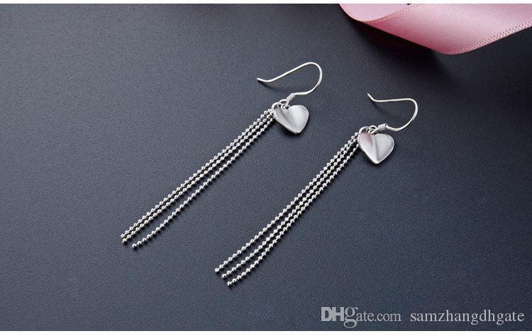 780 Top quality S925 sterling silver women's drop earrings 925 earring women's silver earring tassels earrings silver heart earrings D