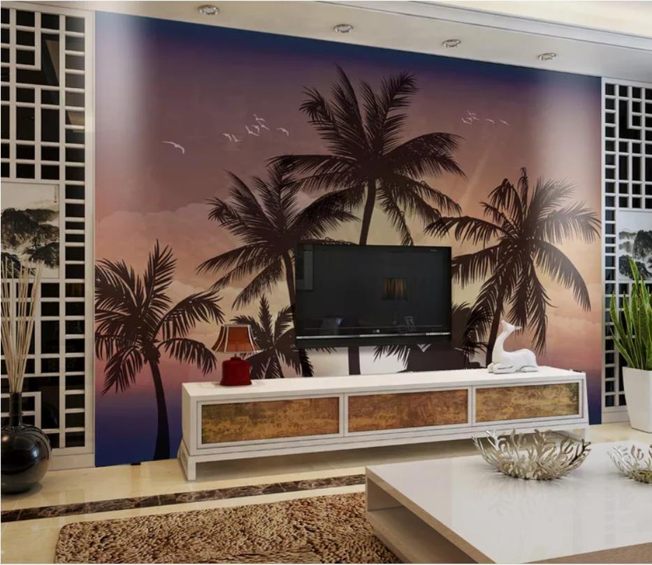 salon moderne papiers peints coucher du soleil peint à la main style mer cocotier beau mur de fond