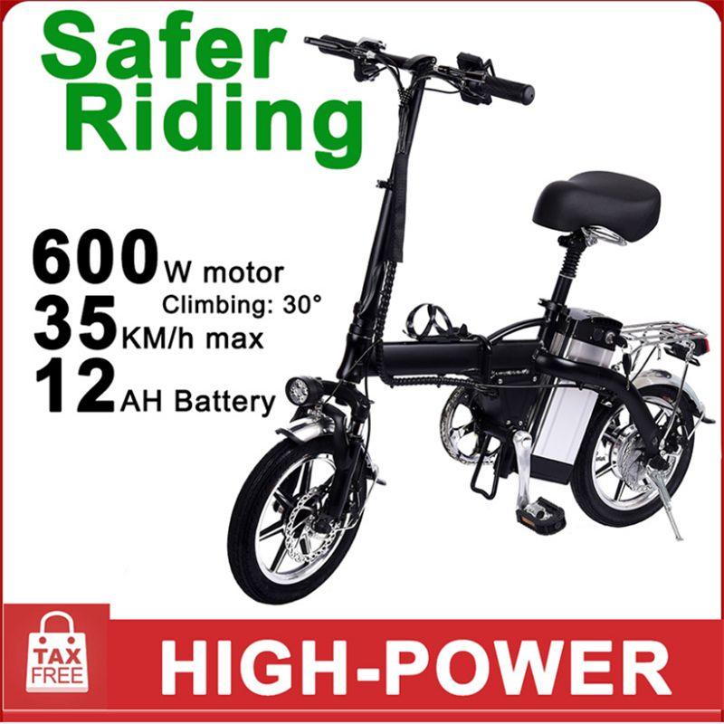 Almanya Toptan GYL004 Katlanır Elektrik Bisiklet 14 inç 48V 350W Büyük Tekerlek Elektrikli Bisiklet Çift diskli fren 35km h Azami Hız