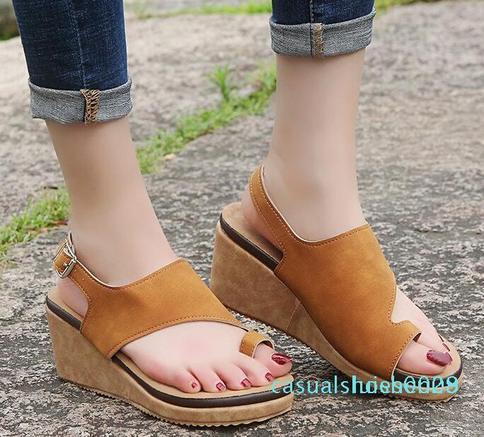 Grande sandálias tamanho praia mulheres de salto alto sapatos romanos luz sandálias de cunha leopardo fundo toe feminino vulcanizados sapatos c09 L28