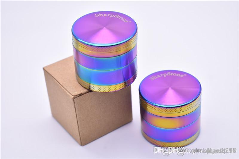 4 Schichten Grinder 40mm Zink-Legierung Regenbogen scharfer Stein Grinder Iceblue Mini SharpStone Tabakmühlen Gewürz Crusher für das Rauchen
