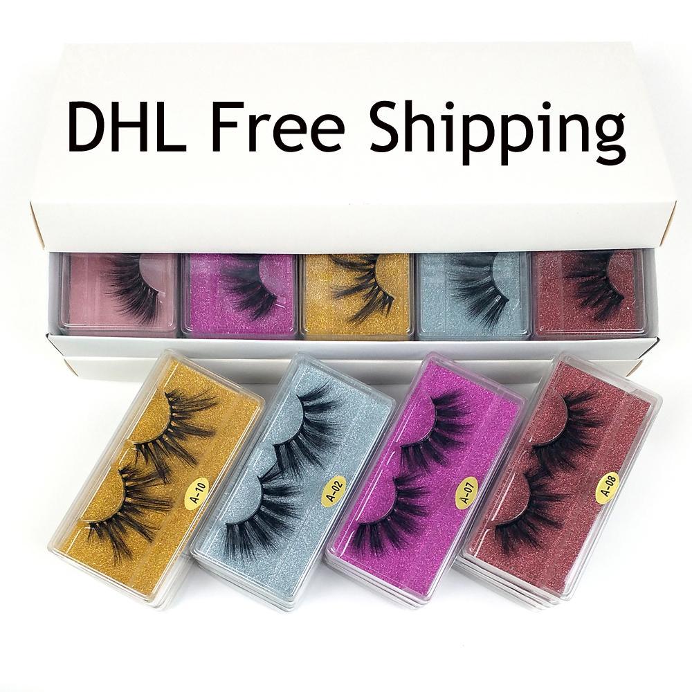 25mm Lashes Großhandel 10 Arten 25 mm falschen Wimpern dicke Streifen 6D Mink Lashes Makeup Dramatisch Lang Mink Wimpern DHL-freies Verschiffen