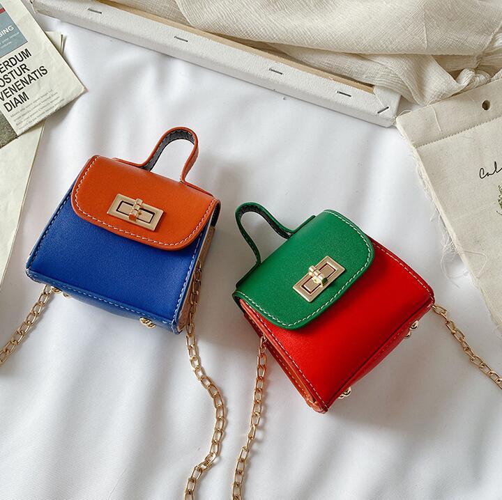 Los niños Crossbody Mini cadena de hombro bolsas de bebé bolsos de la moda niña de dos tonos Pequeño linda bolsa