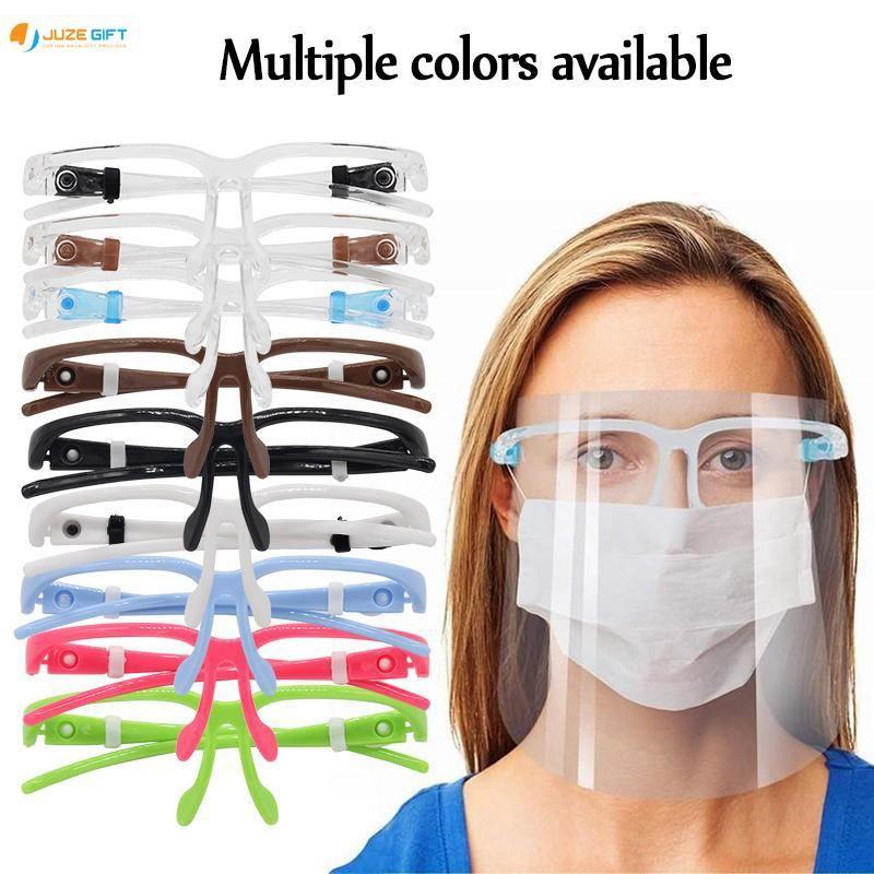 Adultos de ações dos EUA face Escudo Óculos reutilizável Goggle Vestindo face visor transparente Anti-Fog Camada Máscaras Olhos Oil respingo partido
