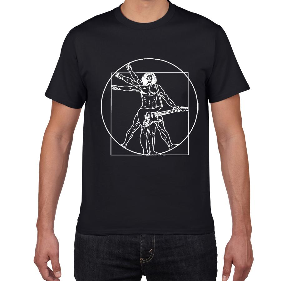 Da Vinci guitarra engraçada T-shirt homens banda de rock Homem Vitruviano Vintage gráfico da música Novidade streetwear homens camiseta homme Vestuário
