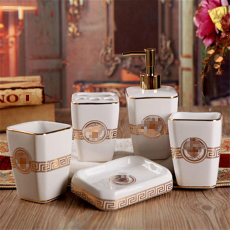 Bathroom Sets Europe Popular Pottery Porcelain 5/6 Pieces Set Modern Simple Bathroom Wash Gargle Suit Bathroom Ark Accessories