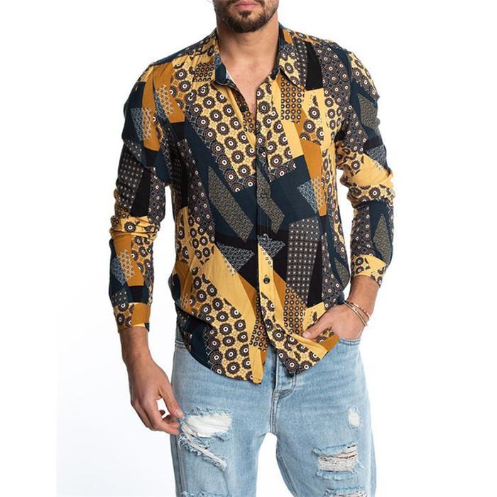 رجل الزهور قميص طويل الأكمام طية صدر السترة الرقبة الصيف بلايز سليم أزياء الرجال عارضة بالاضافة الى حجم ملابس للرجال مصمم