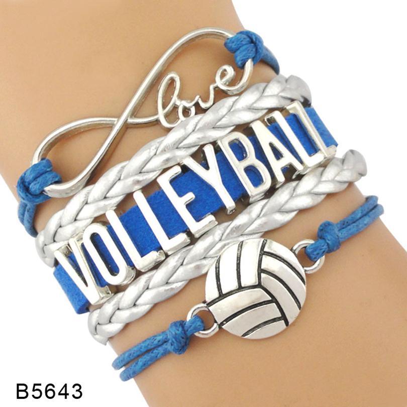 9styles Volleyball-Armband Leder und Wildleder Brief Armbänder Liebe I Heart Volleyball Besondere Schmucksachen für Frauen Männer Day Geschenk Schmuck GGA3594-1
