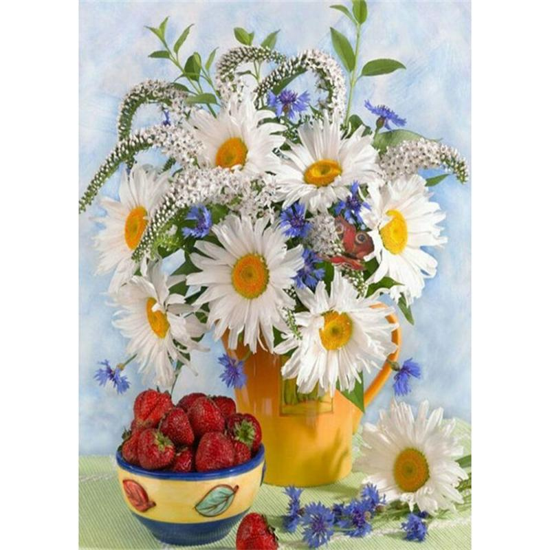 Chrysanthemum Kirschtomaten volle Bohrgerät 5D Diamant Runde Strass Stickerei Malerei DIY Kreuzstich Kit Mosaik Draw Home Decor Geschenk