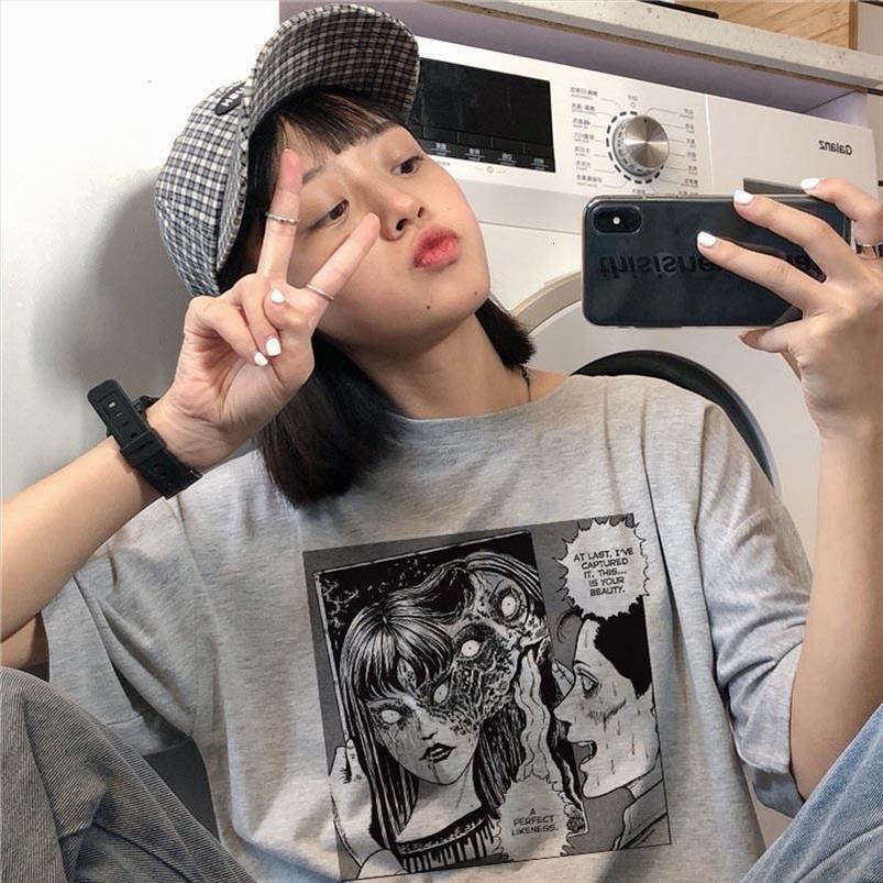 Japon Yeni Yaz Kadın Harajuku Koyu Günlük Moda Büyük Beden Vintage Kısa Sleeve Çift Hip Hop Tişörtler Karikatür T Shirt