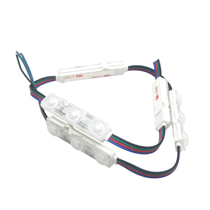 حقن RGB LED وحدة مع جولة عدسة SMD 5050 مقاوم للماء LED وحدة الضوء لتسجيل رسالة DC12V IP68