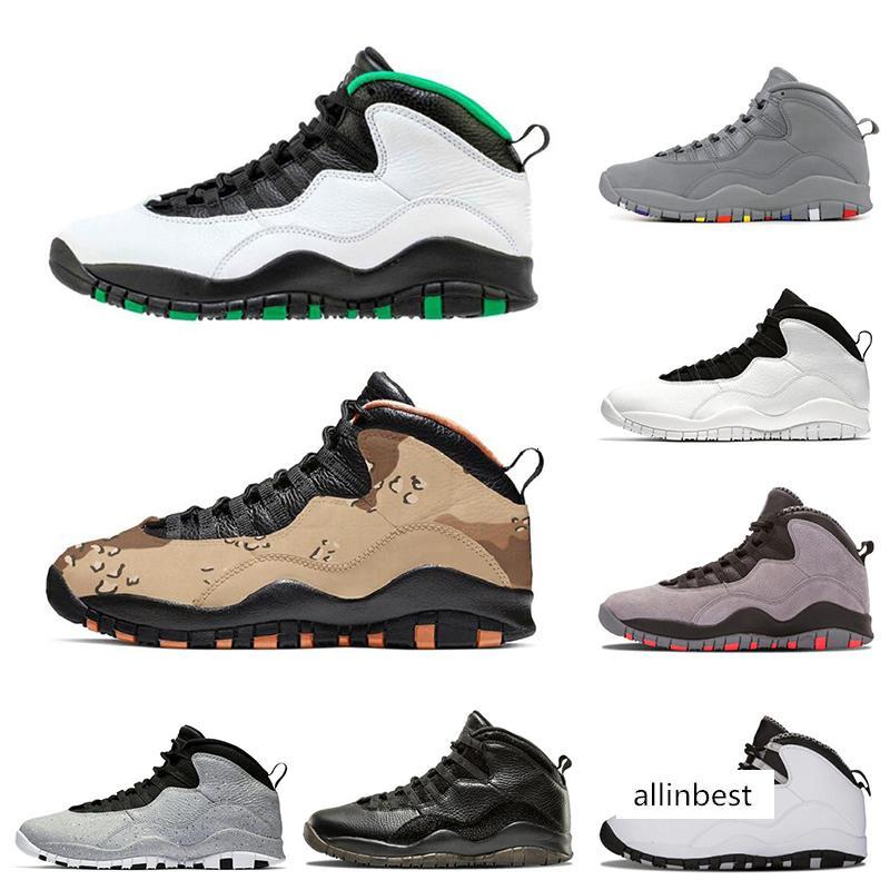 10 Hommes Chaussures de basket-ball Tinker Cement Westbrook Powder Blue Seattle chicago foncé gris fumée 10s hommes de sport Chaussures de sport Taille 7-13