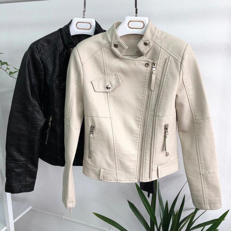 Женщины Весна Осень Pu кожаные куртки Мода тонкий мягкий мотоцикла пальто Biker Кожезаменитель куртка женщин Outwear OC5H #