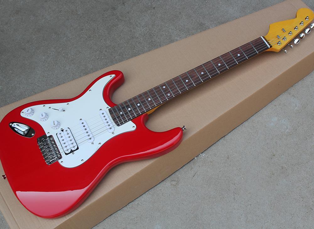 Левшой Красный электрическая гитара с белой накладкой, Rosewood грифа Желтый кленовый гриф, может быть настроена как reques