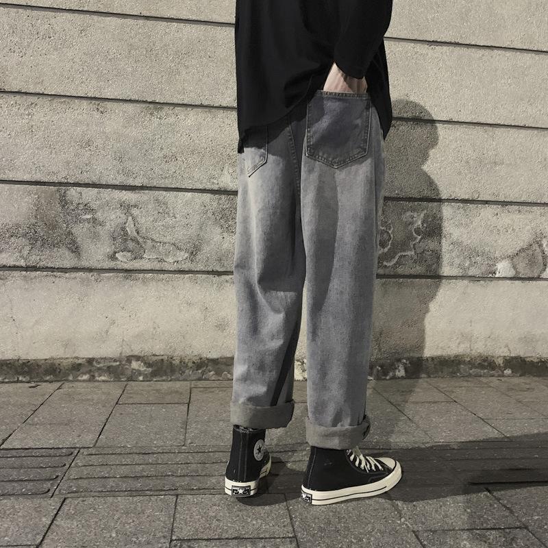 mGQIL 2020 printemps et en été nouveau pantalon pantalon de neuf points de jeans à la mode droites hommes occasionnels lâche un jean neuf points Pantalons hommes