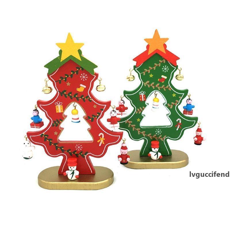 Dekorasyon Bells DIY Noel ağacı Tablo Mini Süsleme Hediye Ücretsiz Kargo ZA5226 Asma ile 18cm Ahşap Noel Ağacı