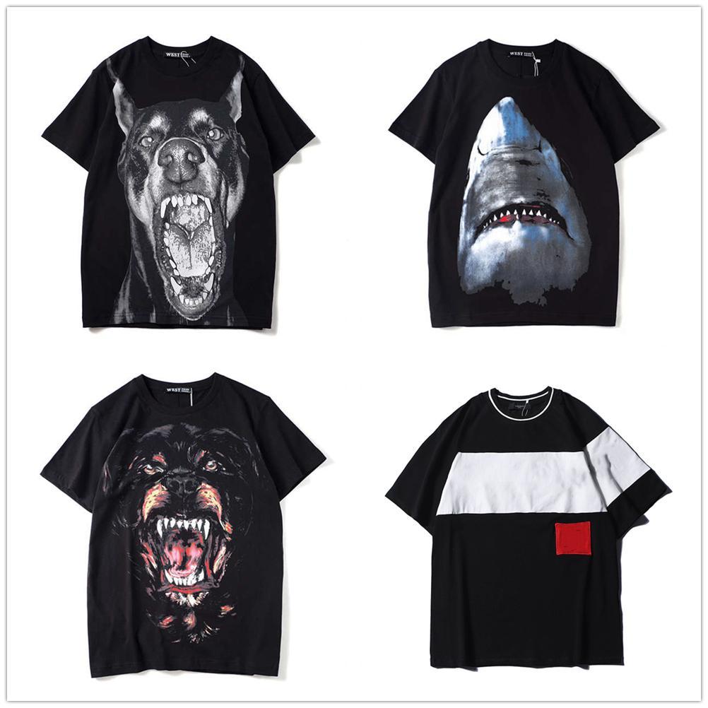 인쇄 망 티셔츠 여름 티셔츠 크레인 인쇄 코튼 티셔츠 Uomo 힙합 패션 남자 여성 짧은 소매 티 악마 개 크기 S-XXL