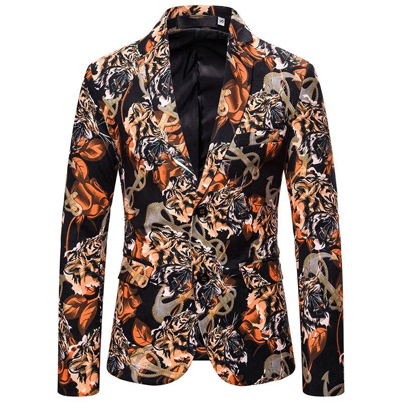 мода мужской цифровой печати Suit Blazer куртке 2020 новенького однобортному человек блейзер случайного пиджака
