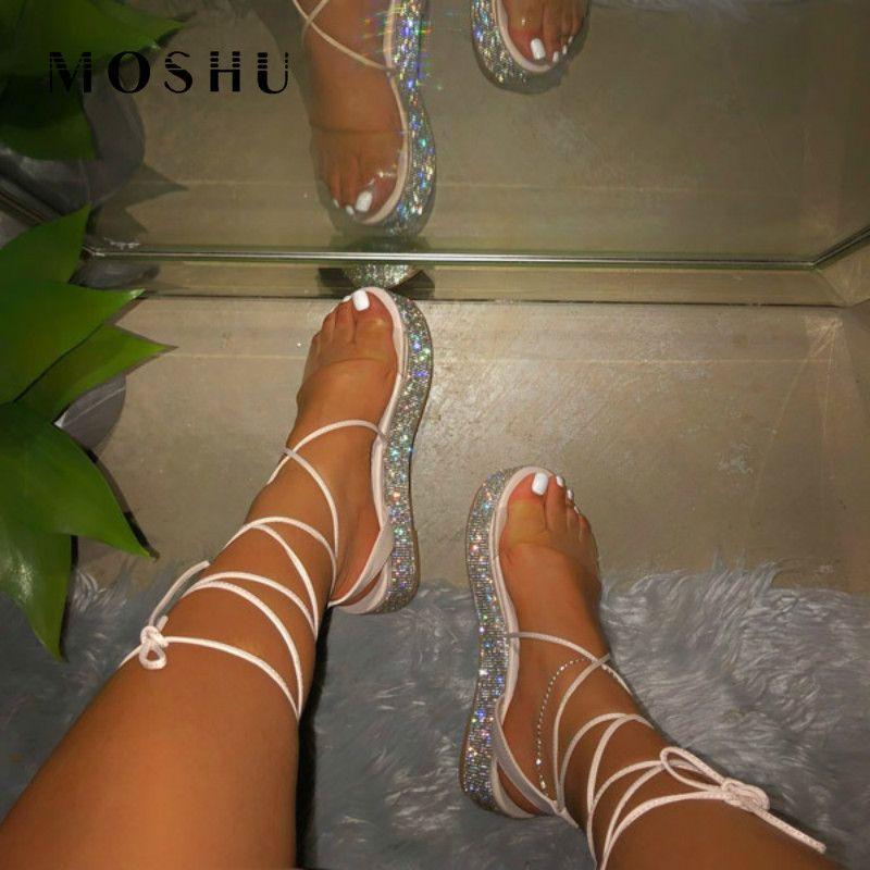 2020 Yaz Platformu Sandalet Kadınlar Uzun Bilek sapanlar Sandalias Rhinestones Ayakkabı Seksi Açık Burun Plaj Sandalia Feminina Y200620